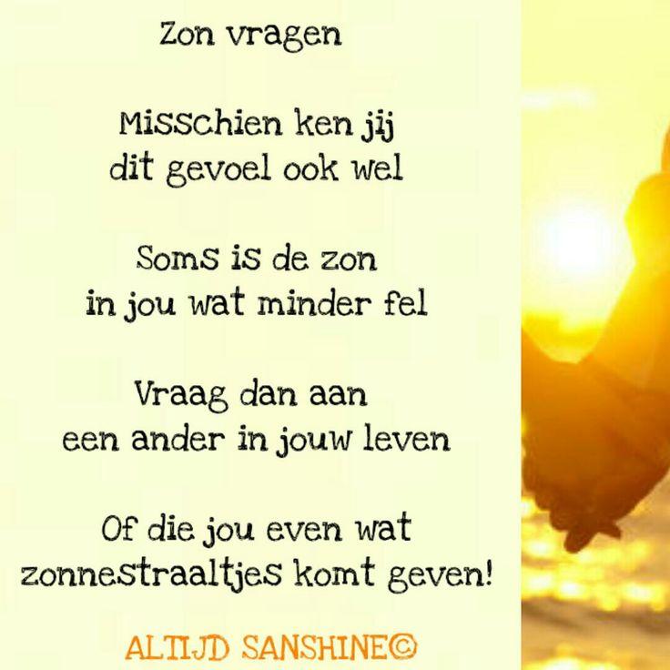Gedichtje Altijd Sanshine - hulp vragen = om zon vragen op een bewolkte dag