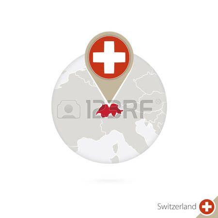 Suiza mapa y la bandera en el círculo. Mapa de Suiza, Suiza pin de la bandera. Mapa de Suiza en el estilo del globo. Ilustración del vector.