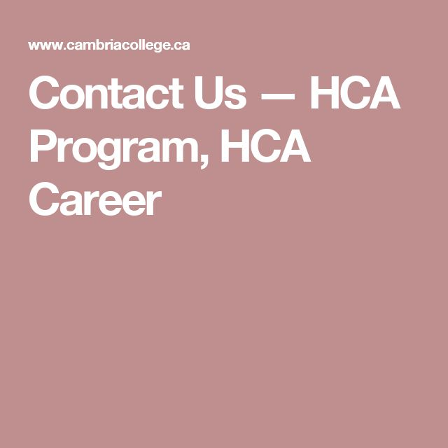 Contact Us — HCA Program, HCA Career