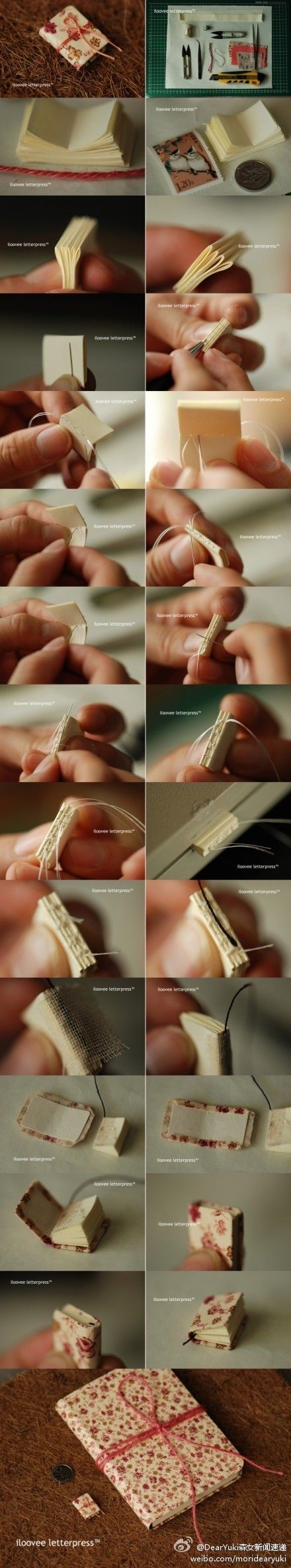Incredibly detailed pin on how to make those tiny books that fold open flat. I have tried to do this before, but never had clear instructions, this may work way better! Off to try again when this quarter is out!