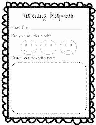 printable kindergarten listening center response sheet - free