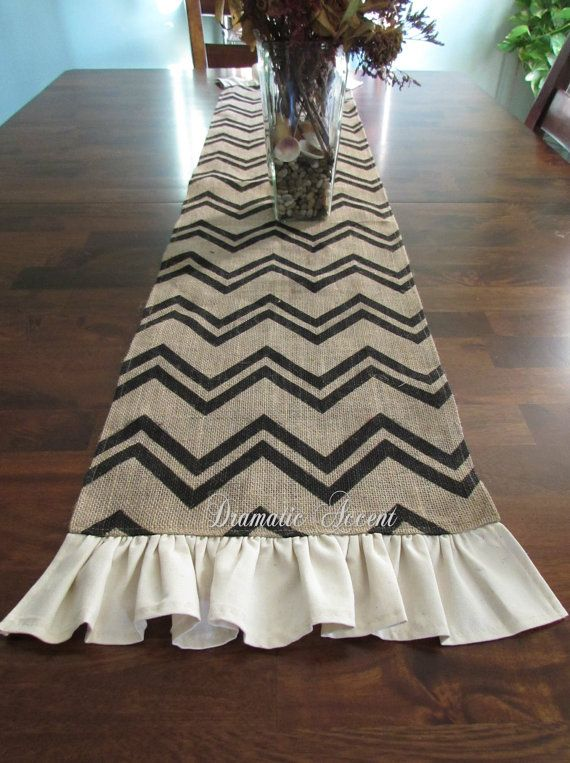 """Burlap Chevron Table Runner with ruffled bottom, Unique, Extra long Table Runner, 60"""", 72"""", 90, 102"""" -Wedding, entertaining table accent"""