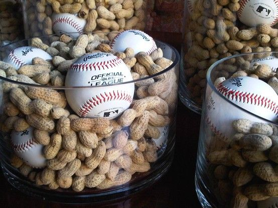 Baseball season is upon us!  Simple centerpiece for sports-themed event