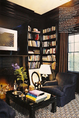 Cozy black library with David Hicks carpet.