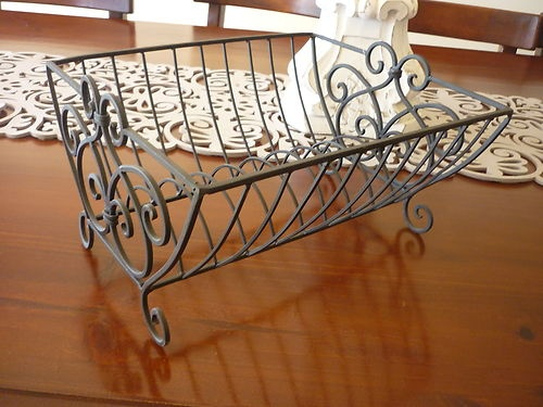 Shabby Chic French Provincial Brn Blk Wrought Iron Dish