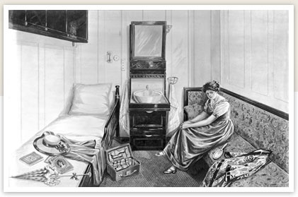 Second class single-berth stateroom.  Most of the cabins in second class had bunk-beds, unless one booked a single-person cabin, such as that shown here.  There were no private toilets for each individual cabin, although sinks and shaving/make-up mirrors were provided.  Bed linen was changed every day by the ship's stewardesses.