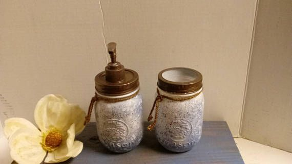 Bathroom Set, Soap Dispenser and Toothbrush Holder Set, Farmhouse, Country Style, Home Decor