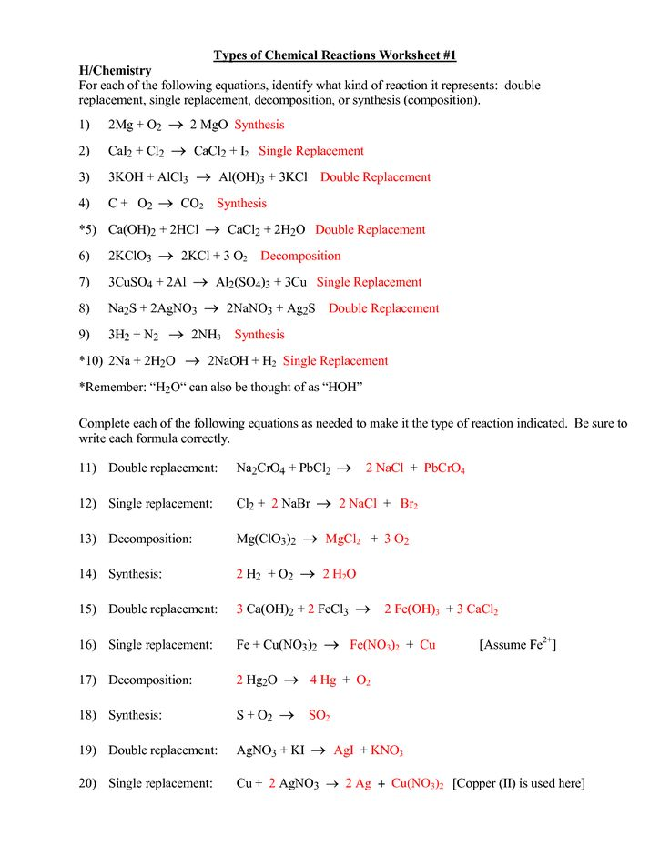 Collection of Types Of Reactions Worksheet Cockpito – Six Types of Chemical Reaction Worksheet Answers