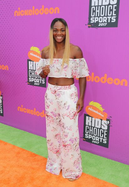 Professional boxer Claressa Shields attends Nickelodeon Kids' Choice Sports Awards 2017 at Pauley Pavilion on July 13, 2017 in Los Angeles, California.