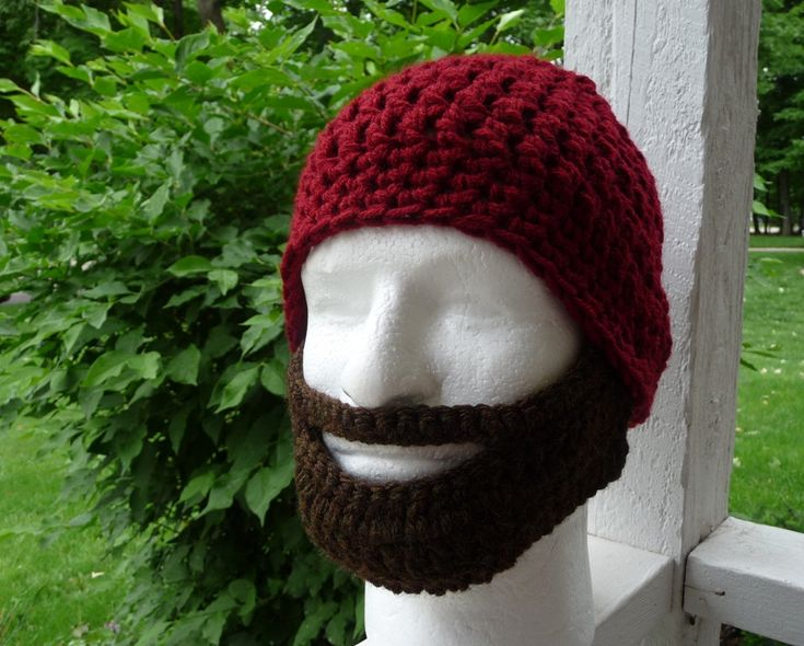 Instant Download Digital Pattern Adult Crochet Beard Hat Pattern
