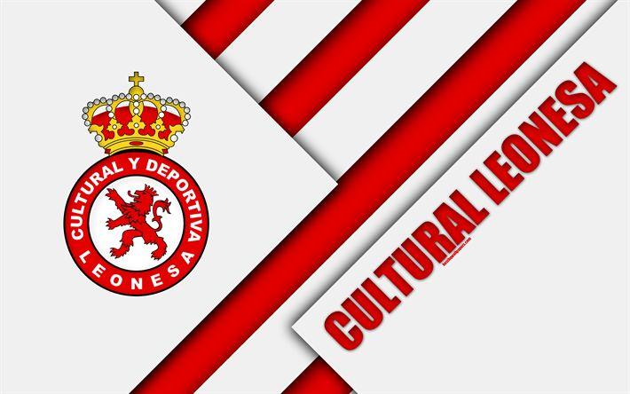 Download wallpapers Cultural Leonesa, 4k, material design, Spanish football club, red white abstraction, logo, Leon, Spain, Segunda Division, football, Leonesa FC