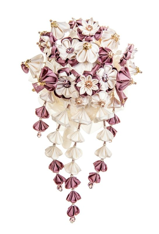 Helene Ivory & Wisteria cascading Bridal Bouquet unique handmade silk flowers with Swarovski crystals