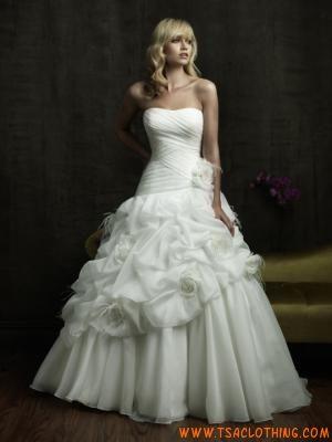 strapless prinses gezwollen organza bruidsjurk korset terug
