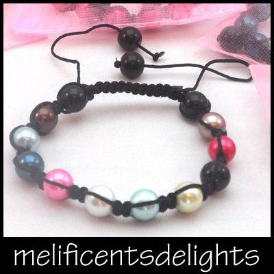 petite / childrens multi coloured pearlised shamballa beaded bracelet kids £4.99 free shipping