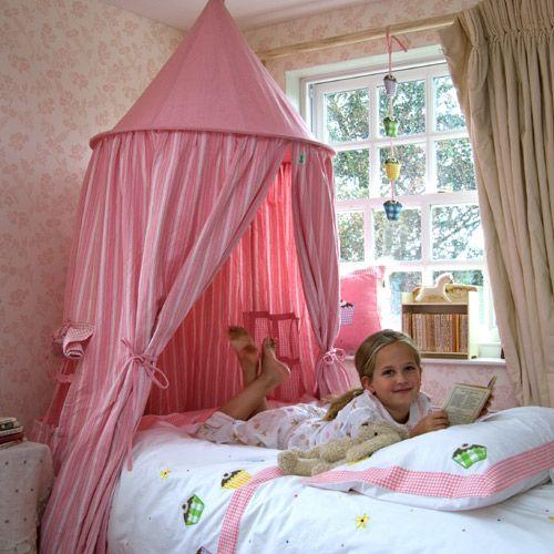 Tente suspendue ciel de lit en coton rose