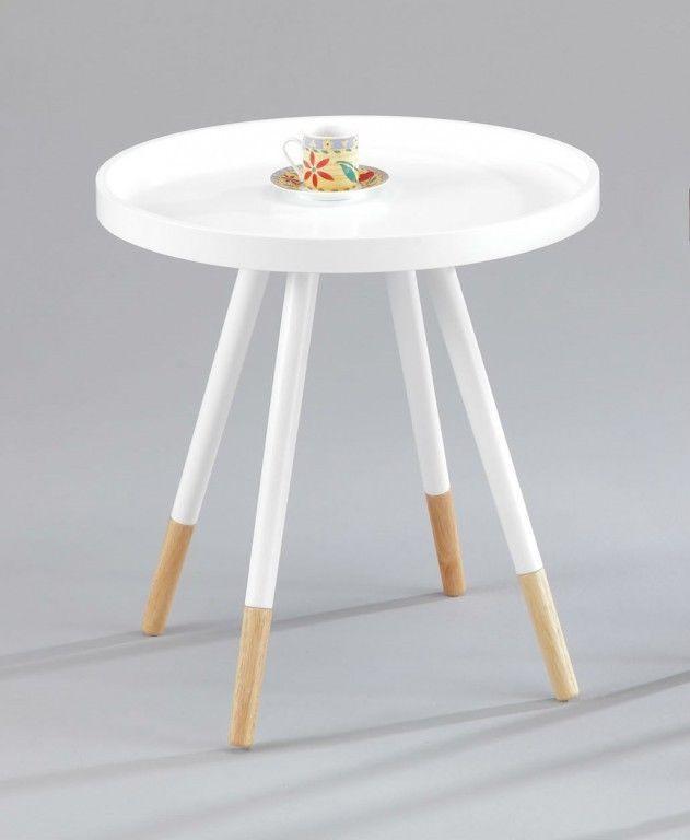 Beistelltisch Couchtisch Tisch MDF Weiss Buche Natur Massiv Holz