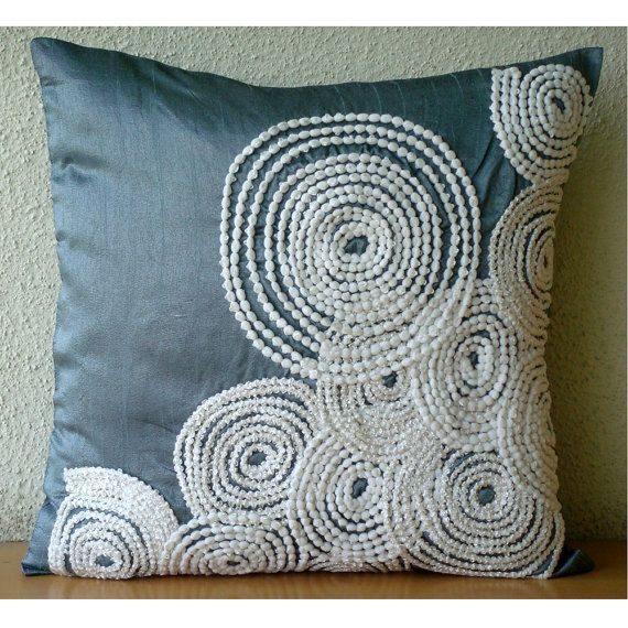 designer blue decorative pillow cover 16x16 silk pillows covers for couch square spiral pompom lace pillows cover snow centric - Decorative Pillows For Sofa