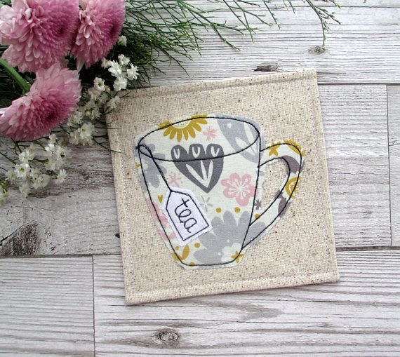 Fabric Coaster Tea Coaster Floral Coaster Desk Decor Gift #tealover #coasters #handmade