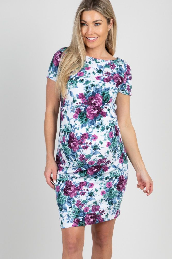 7fe8489a6c3 Ivory Floral Print Fitted Maternity Dress