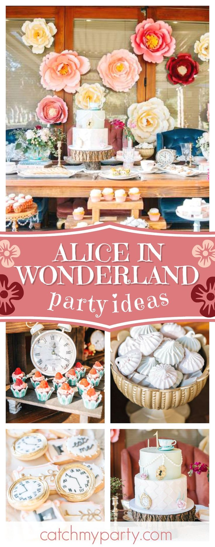 Take a look at this gorgeous Alice in Wonderland 1st birthday party! The birthday cake is amazing!! See more party ideas an dshare yours at CatchMyParty.com #aliceinwonderland 1stbithday #teaparty