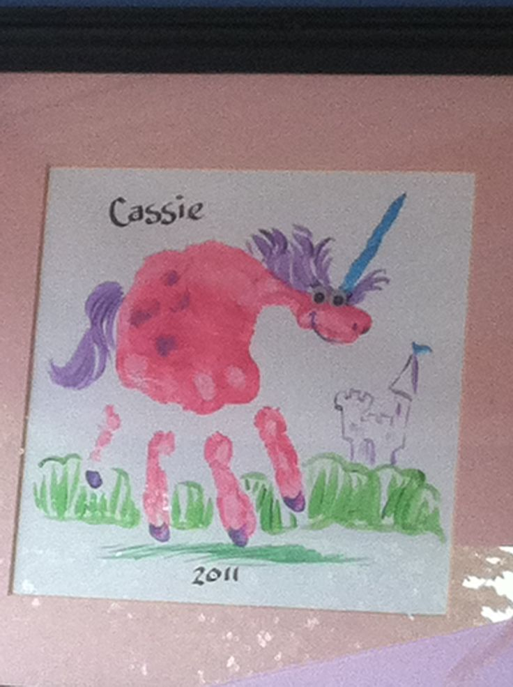 Unicorn hand-print art... adorable for FairyTale unit!!!