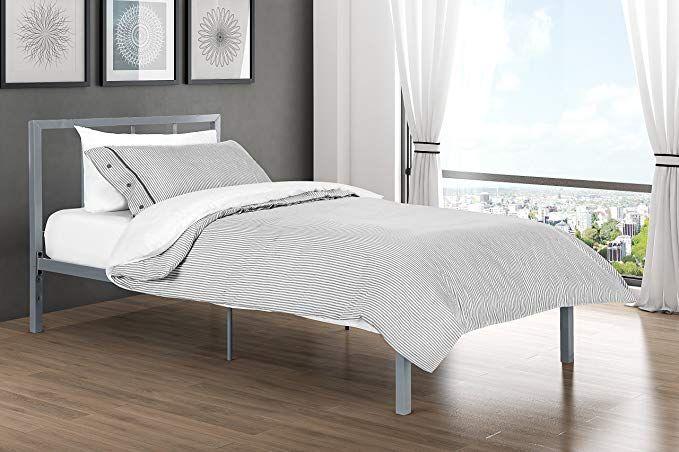 Finlay Twin Metal Bed Frame In Rich Silver Modern Scandinavian