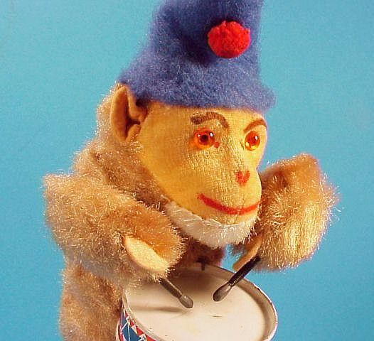 icollect247.com Online Vintage Antiques and Collectables - Drumming Monkey Wind Up Toy Western Germany 1960s Toys-Wind