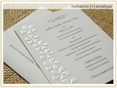 Hana Hou Invitations | Embossed Plumeria Wedding Invitation Stationery | Frangipani Wedding Invitations