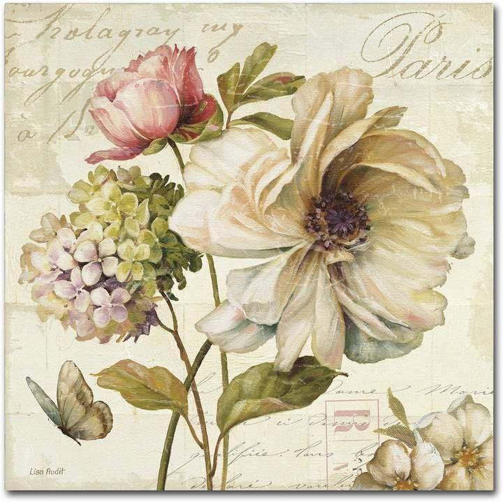 Trademark Fine Art Marche de Fleurs II Canvas Wall Art – Vintage Decoupage Paper