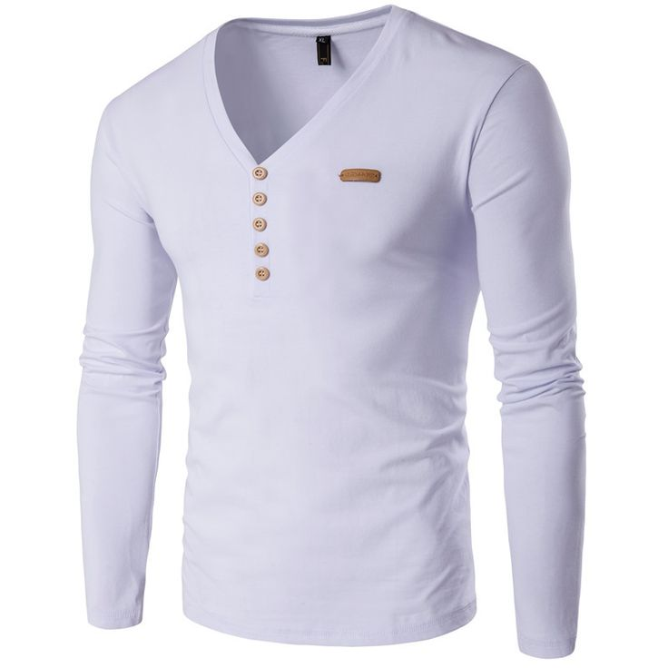 GustOmerD V-Neck Button Decoration T Shirt Men Slim Fit High-Quality Plus Casual Long Sleeve Cotton