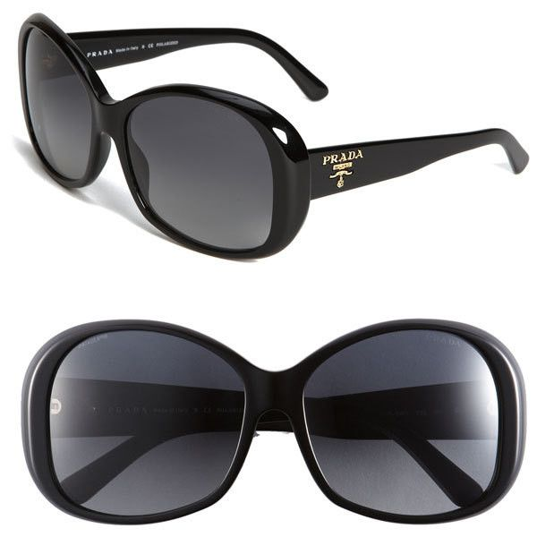 Prada Polarized Oval Sunglasses-See this and similar Prada sunglasses - Gleaming logo design brands the temples of polarized sunglasses updated with chunky frames. 100% UV protection. Acetate....