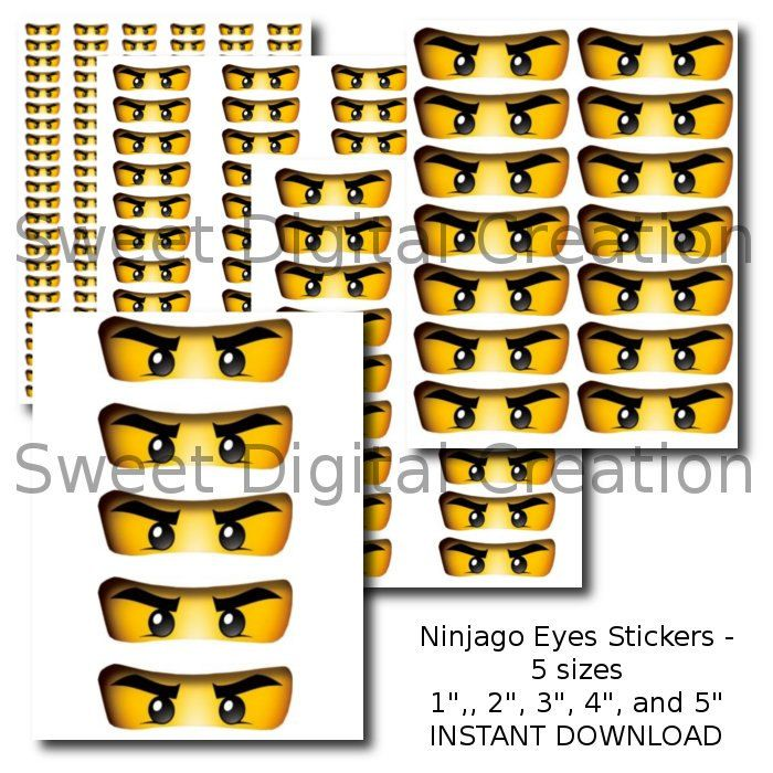 Ninjago Eyes Stickers Party Favor Tags by SweetDigitalCreation, $2.00