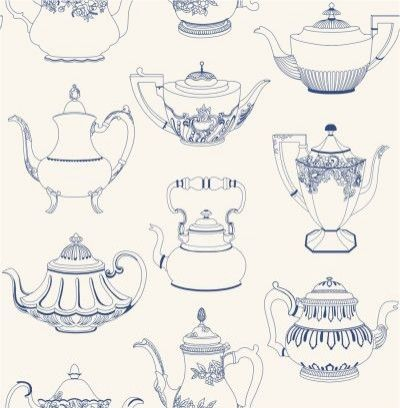 Time for Tea (31191) - Albany Wallpapers - A delightful motif design with intricately patterned old-fashioned teapots.  Shown in blue on white.  Please request sample for true colour match.