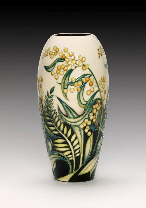 Moorcroft Pottery Golden Wattle & Silver Fern Designer Nicola Slaney