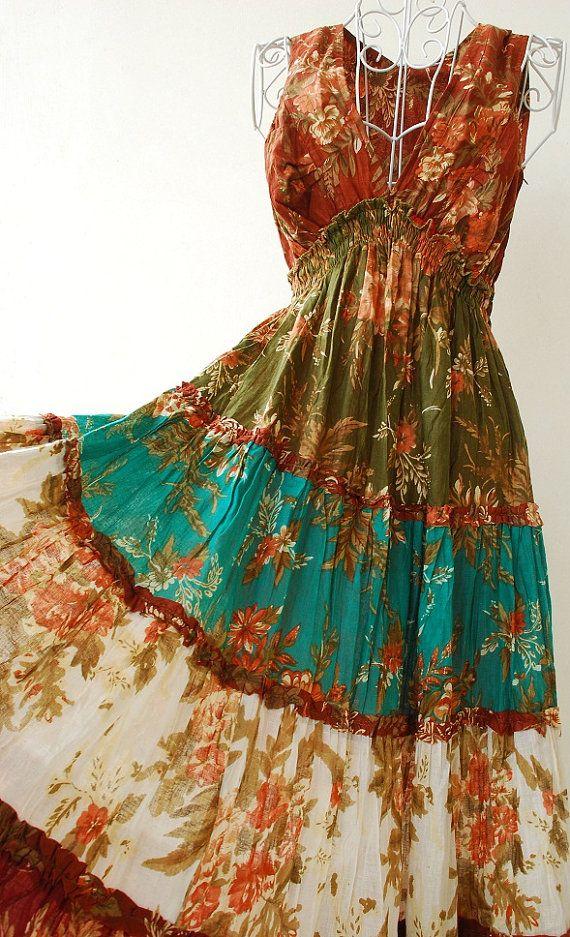 Boho Gypsy Style Long Tiered Ruffle  Dyed Summer by DreamyDress, $44.00