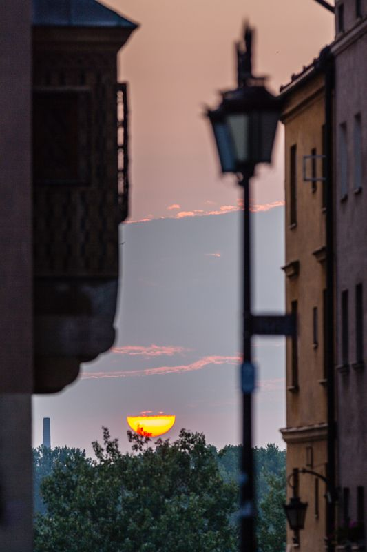 View from the Old Town market at the dawn, Warsaw, Poland
