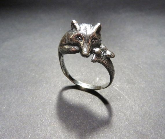 Grey Wolf Ring - Animal Totem Jewelry - Sterling Silver Sculpted Resting Black Wolf Ring
