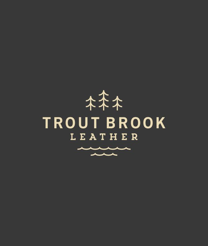 Trout Brook Leather Final logo and concept identities for a brand of leather from Red Wing Shoes. Created at Studio MPLS.