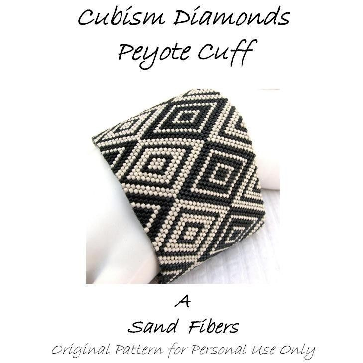 Peyote Pattern - Cubism Diamonds Peyote Cuff / Peyote Bracelet  - A Sand Fibers For Personal Use Only PDF Pattern - 3 for 2. $7.50, via Etsy.