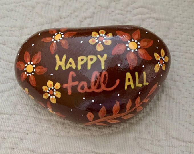 Happy Fall Painted Rock - Thanksgiving Harvest Place Setting - Hostess Gift - Painted Rock