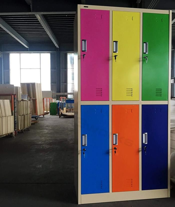 China Office Furniture,Filing Cabinet,Factory Wholesale High School  Different Color Sport 6 Door Steel Locker Storage Unit,Sports Steel Locker  ,Different ...