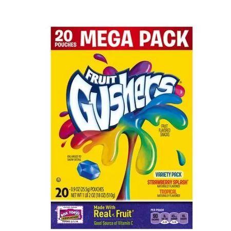 Betty Crocker Fruit Gushers Strawberry Splash/Tropical Fruit Flavored Snacks Variety Pack, 0.9 oz, 20 ct