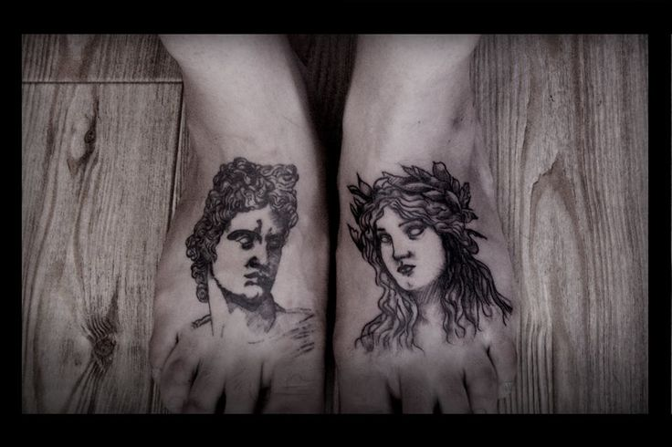APOLLO AND DAPHNE (mythology- tattoo)  The insulted Eros took two arrows, one of gold and one of lead. With the leaden shaft, to incite hatred, he shot the nymph Daphne and with the golden one, to incite love, he shot Apollo through the heart. Apollo was seized with love for the maiden, Daphne, and she in turn abhorred him.  http://en.wikipedia.org/wiki/Apollo_and_Daphne