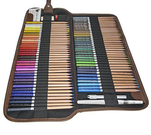 nice JNW Direct Watercolor Pencils, Best Water Soluble Colored Pencil Set for Adult Coloring Books and All Color Pencil Art, Includes 72 Different Luxury Colors with BONUS Canvas Case and Accessories