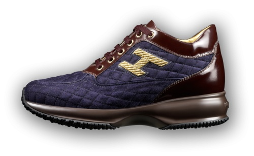 HOGAN - Interactive sneakers in quilted deep blue suede with leather details characterized by deep undertones, brown laces, golden hardware and H logo embroidered in lurex at the side.