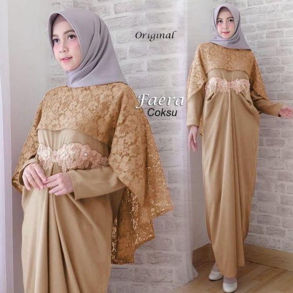 Model Gamis Brokat Kombinasi Polos Remaja Ragam Muslim Model Brokat Wanita