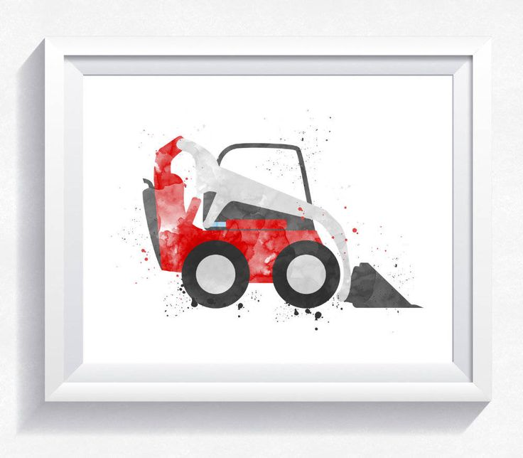Watercolor wheel loader print, wheel loader printable, loader wall art, construction print, construction printable, boy room wall art by HappyLittleFrog on Etsy
