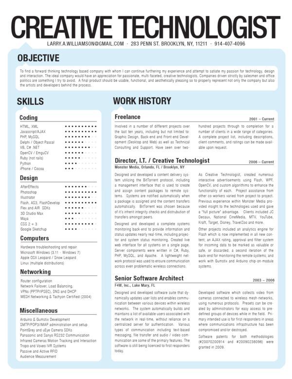 Resume by Larry Williamson, via Behance Infographic Visual Resumes
