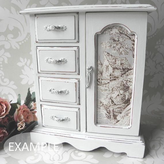 CUSTOMISABLE ORDER - MEDIUM Shabby Chic Vintage Jewellery Box / Armoire Cabinet Case on Etsy, $71.79