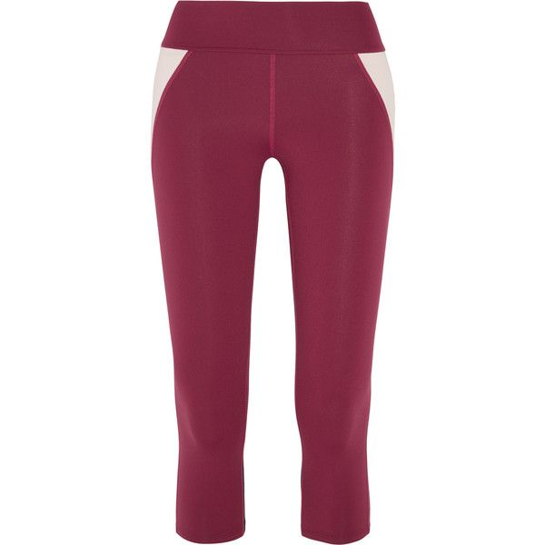 Live The Process Cropped stretch-Supplex® leggings ($67) ❤ liked on Polyvore featuring pants, leggings, merlot, plum leggings, pull on stretch pants, pull on pants, stretchy leggings and plum pants